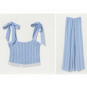 H&M converted baby blue striped jumpsuit